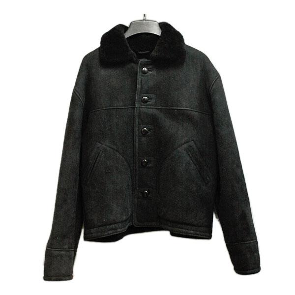 裏ボア ムートンジャケット メンズ ブラック 【デッドストック】 レザージャケット 黒 シンプル かっこいい カジュアル きれいめ SILVANO