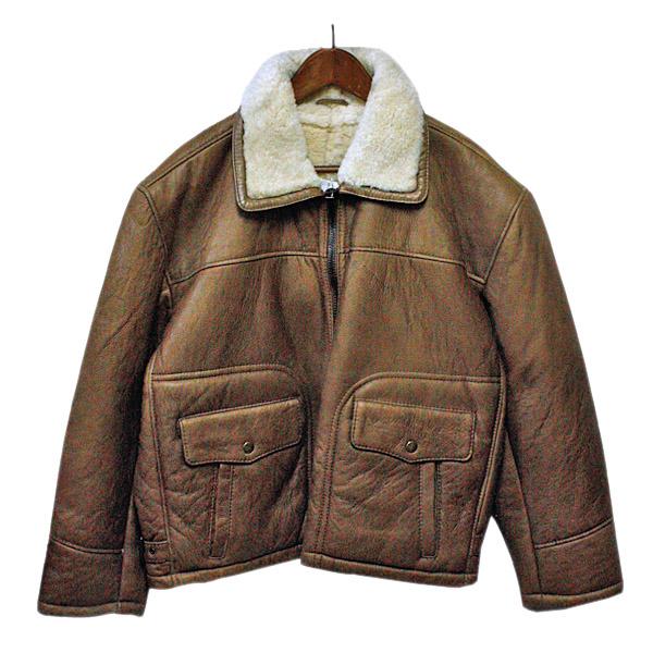 レザージャケット 革ジャン メンズ 本革 ブラウン【デッドストック】ボアの裏地付き,カジュアル,アメカジ,かっこいい,おしゃれ,ヴィンテージ風,ビンテージ風,中古風