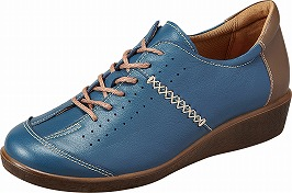 【SPORTH】スポルス2401ブルーコンビ4E【婦人靴】【撥水加工】【本革】【幅広】【衝撃吸収】【ベステック】【洗えるインソール】【軽量設計】【ガーメントレザー】【Made in Japan】