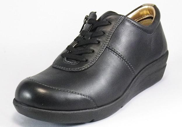【SPORTH】スポルス0206ブラック3E【婦人靴】【本革】【外反母趾サポートインソール】【軽量設計】【衝撃吸収】【撥水加工】【フレクソール】【防滑ラバー】