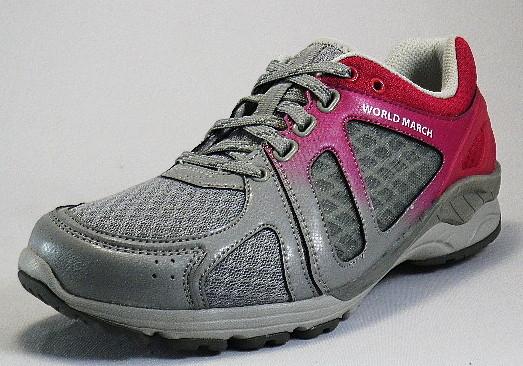【WORLDMARCH】WL3585グレイ/ピンク3E【婦人靴】【ウォーキング】【スタビライザー】【通気ソール】【アーチサポート】【サラリーナ】【軽量設計】【ハードシャンク】【反射材】