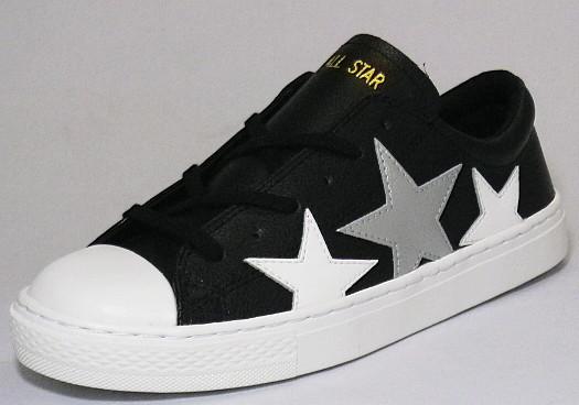 【CONVERSE】オールスター クップ トリオスター OX ブラック/シルバー【婦人靴】【ALL STAR COUPE TRIOSTAR OX】