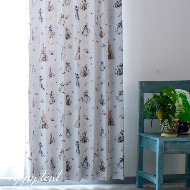 [全品P10倍!20日20時~4H限定]カーテン 遮光 おしゃれ 洗える 絵本のようなかわいいデザイン 子供部屋 キッズ インテリア 友安製作所 YH813 ティピーテント アニマル 動物 自然 フクロウ 鹿 2枚組 OKC