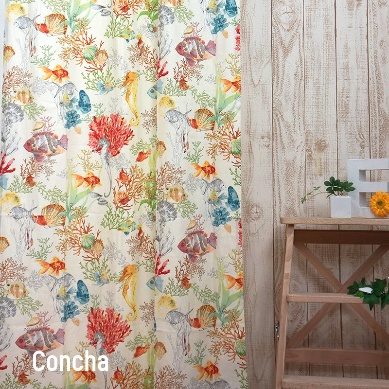 [1000円OFFクーポンあり×マラソン]インポートカーテン コットン /●コンチャ/【YH923】幅100×丈178/丈200cm[2枚組]/幅200×丈178/丈200cm[1枚][冷暖房効率 洗える オリジナルデザイン スペイン] 日本製 OKC