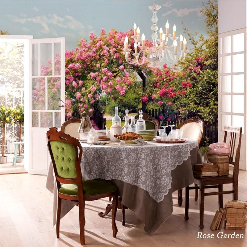 壁紙 インポート壁紙 輸入壁紙 クロス のりなし のり付 紙 花柄 バラ 景色 背景 オシャレ ドイツ製[Rose Garden]8-936
