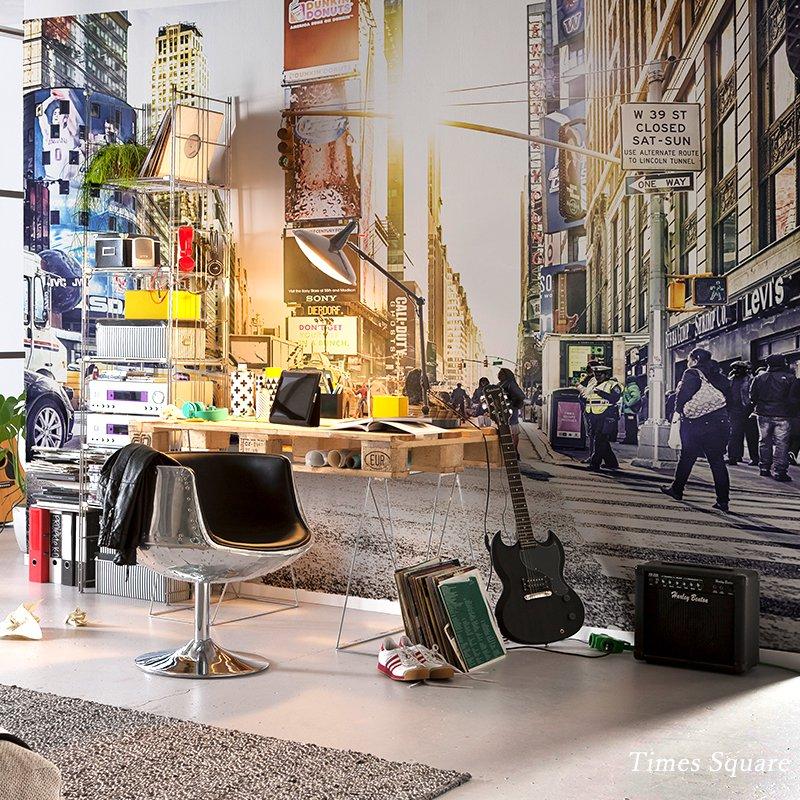 壁紙 のりなし おしゃれ クロス 輸入壁紙 景色 風景 店舗 内装 撮影 ドイツ製 不織布 フリース マンハッタン[Times Square/タイムズスクエア]XXL4-008