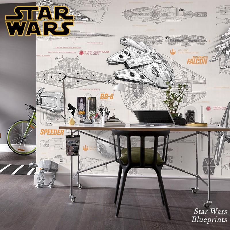 [全品P10倍!20日20時~4H限定]壁紙 輸入壁紙 インポート壁紙 スターウォーズ starwars STARWARS 粉のり付 おしゃれ クロス 紙 店舗 内装 撮影 ドイツ製 [Star Wars Blueprints]8-493