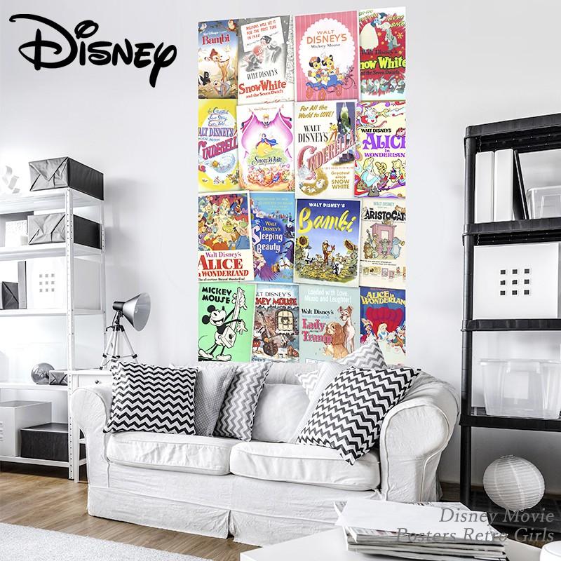[1000円OFFクーポンあり×マラソン]壁紙 輸入壁紙 インポート壁紙 ディズニー DISNEY disney ミッキーマウス ミッキー 不思議の国のアリス バンビ 白雪姫 のりなし 不織布 おしゃれ クロス 店舗 内装 撮影 ドイツ製 [Disney Movie Posters Retro Girls]VD-040