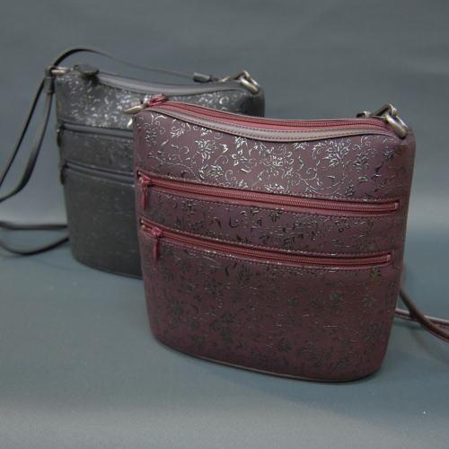 印傳屋 印伝 ポシェット 6114 花唐草 黒 紫 レディース 本革 斜めがけバッグ 送料無料 甲州印伝 山梨 和物屋