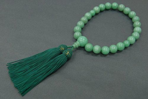 男性用 略式 数珠 アベンチュリ 22珠 頭付撚り房 桐箱付き 送料無料 送料込