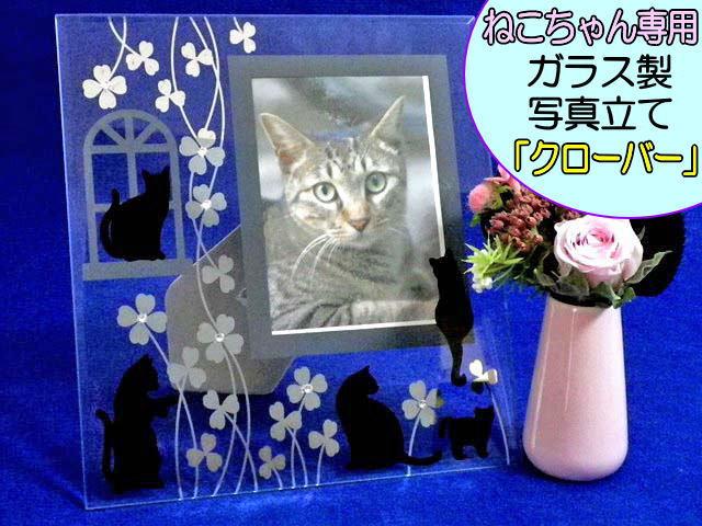 ペット仏具<BR>猫ちゃん専用<BR>ガラス製写真立て「クローバー」