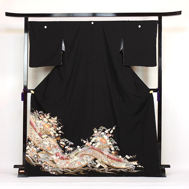 【レンタル】 留袖 レンタル 着物 黒留 黒留袖 19点フルコーディネートセット 結婚式