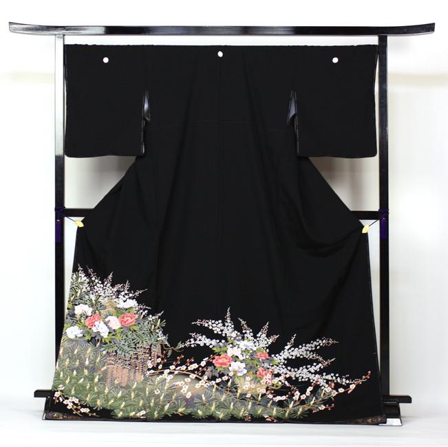 【レンタル】 留袖 レンタル 往復送料無料 着物 黒留 加賀調・正絹京友禅 黒留袖 19点フルコーディネートセット 結婚式 rental とめそで kimono きもの