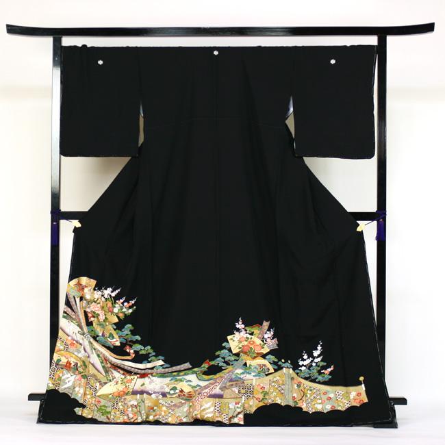 【レンタル】 留袖 レンタル 往復送料無料 着物 黒留 正絹 黒留袖 19点フルコーディネートセット 結婚式 170cm対応