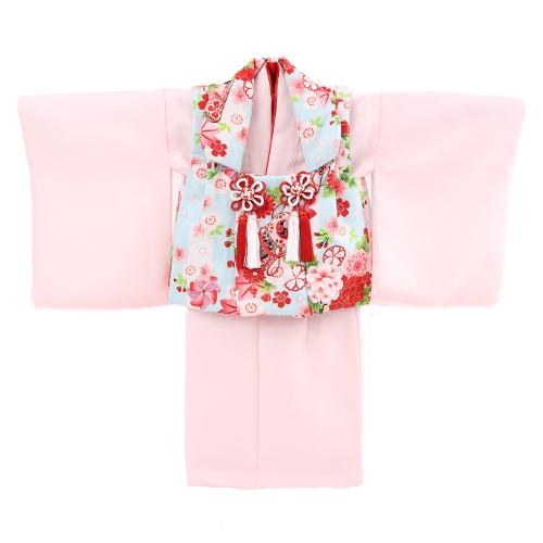 【レンタル】 祝着 1歳 女の子 着物 二部式着物 被布セット「ピンク無地着物に水色被布(御所車と鼓)」ひな祭り 衣装 初節句〔消費税込み〕