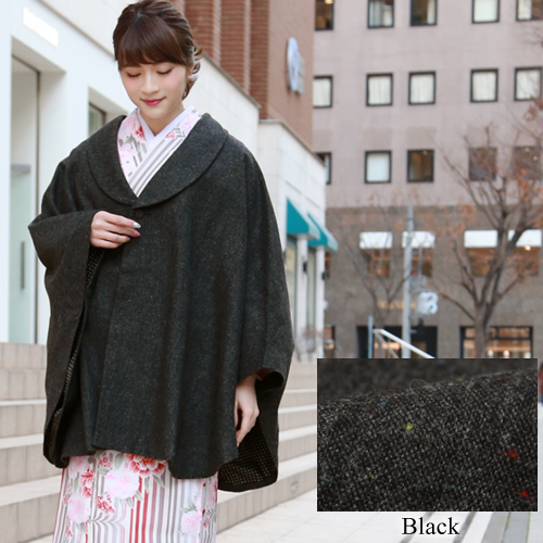 Mt. Misa MISAYAMA poncho cape coat with the kimono (kimono) coat (こーと) poncho wool blend tweed kimono woman coat fur neckband