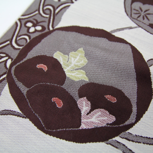 Nishijin silk 9-Nagoya-Obi gray dark red flower round pattern pattern ninnna textile humbly made goods less tailored
