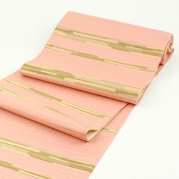 自然染織家の伊豆蔵明彦作 ひなや謹製 切りばめ正絹袋帯「AKIHIKO IZUKURA」 縞「未仕立て状態」