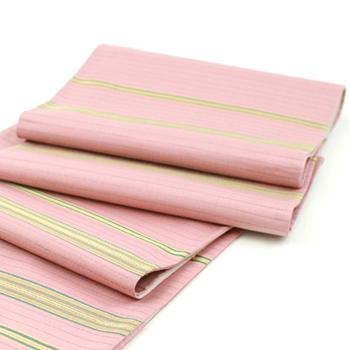 自然染織家の伊豆蔵明彦作 ひなや謹製 切りばめ正絹袋帯 「AKIHIKO IZUKURA」 縞「未仕立て状態」