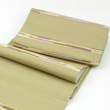 自然染織家の伊豆蔵明彦作 正絹袋帯ひなや謹製 切りばめ袋帯 「AKIHIKO IZUKURA」 縞「未仕立て状態」