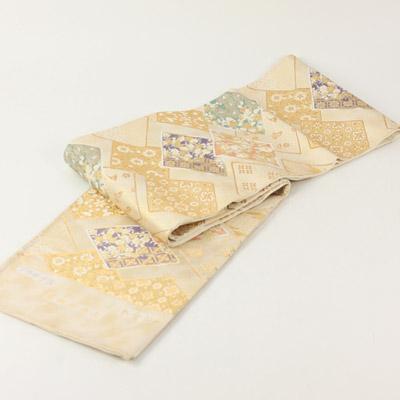 本金箔プラチナ箔西陣正絹袋帯 菱取花重文模様お仕立て代サービスです。