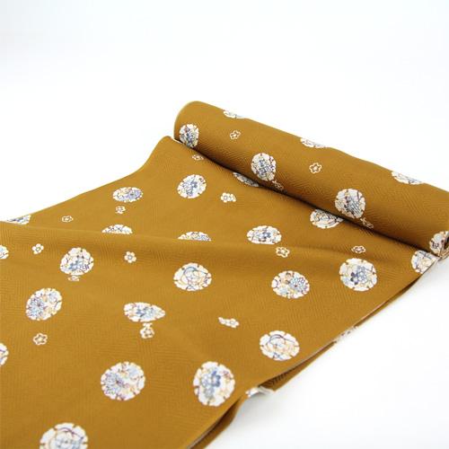「高級正絹 御長襦袢地 黄金色 雪輪」 絹100% 未仕立て