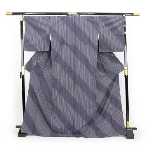 お仕立て上がり 雪割草 正絹 紬着物 「紺と白の縦縞にななめぼかし」 伝統工芸士 庭野真平 作