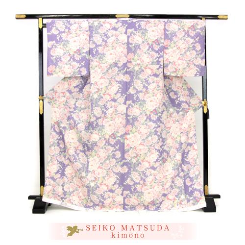 松田聖子 正絹 お仕立て上がり 小紋着物 「紫地に洋花とイチゴ」