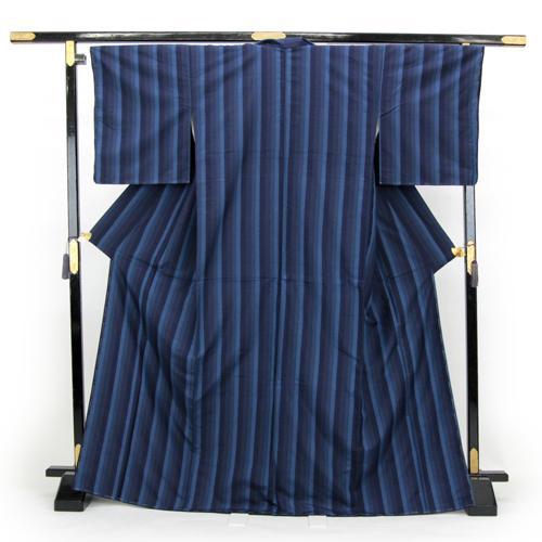 お仕立て上がり 手縫い 正絹 紬着物 「ブルー系縦縞」
