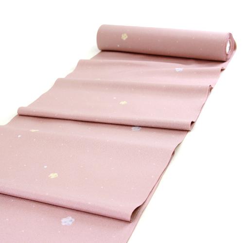 東レシルック 洗える小紋反物 「ピンク地に麻の葉模様入り桜と花びら」【お仕立て付き】反物洗えるきものお仕立て上がり(胴裏・八掛・お仕立て付き) ポリエステル