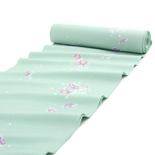 東レシルック 洗える小紋反物 「水色地に紫の花と小桜」【お仕立て付き】水色 ブルー 反物洗えるきものお仕立て上がり(胴裏・八掛・お仕立て付き) ポリエステル