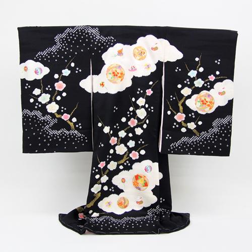 【販売】お宮参り 着物 女児 祝着 「正絹刺繍入り金彩 黒に桜、鞠の刺繍」お宮参り・産着 〔送料無料〕【あす楽対応】販売用 購入