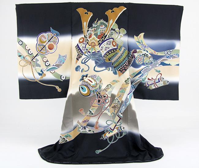 【販売】手描き友禅 お宮参り 着物 男児 祝着 日本製「正絹刺繍入り金彩 黒地に兜・小槌・巻物・軍配団扇・熨斗」 販売用 購入