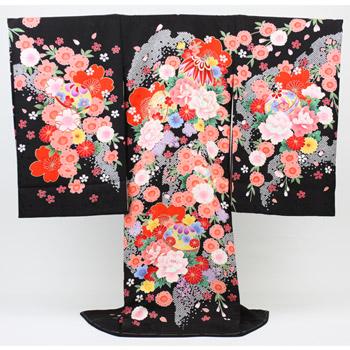 【販売】お宮参り 着物 女児 祝着 「日本製正絹黒地に毬と花々」お宮参り・産着・祝着*〔送料無料〕【あす楽対応】販売用 購入