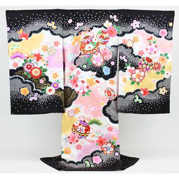 【販売】お宮参り 着物 女児 祝着 「日本製正絹黒色に毬とさまざまなお花」お宮参り・産着・祝着*〔送料無料〕【あす楽対応】販売用 購入