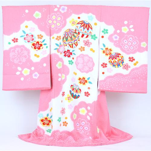 【販売】「お宮参り 日本製 正絹 職人による手描き着物 ピンク地に白色のぼかし手毬と桜 刺繍」女児 祝着 正絹 お宮参り・産着・祝着*〔送料無料〕販売用 購入