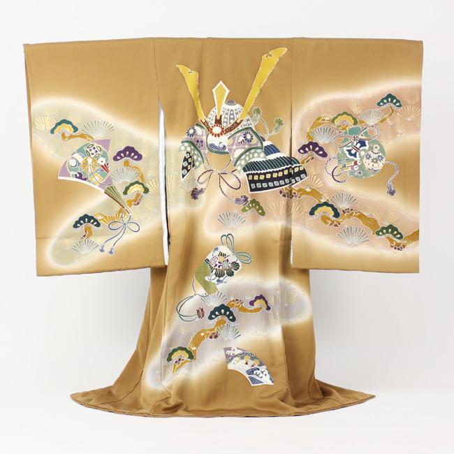 【販売】日本製本格正絹着物 金彩・「金茶地にかぶとと松」男物お宮参り お宮参り・産着・祝着 販売用 購入