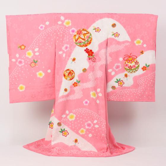 【販売】お宮参り(オミヤマイリ おみやまいり)着物(キモノ きもの)女児 祝着 正絹「日本製正絹手絞り 刺繍使いピンクにまりと花」お宮参り 着物 女児 祝着* 〔送料無料〕販売用 購入
