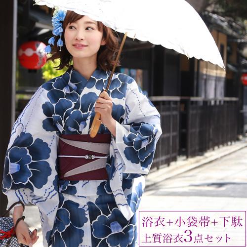 浴衣 レトロ レディース セット 染色&生地が日本製 高級変わり織り浴衣3点セット 「白地に藍色の大椿柄」 浴衣 椿 浴衣 白 紺