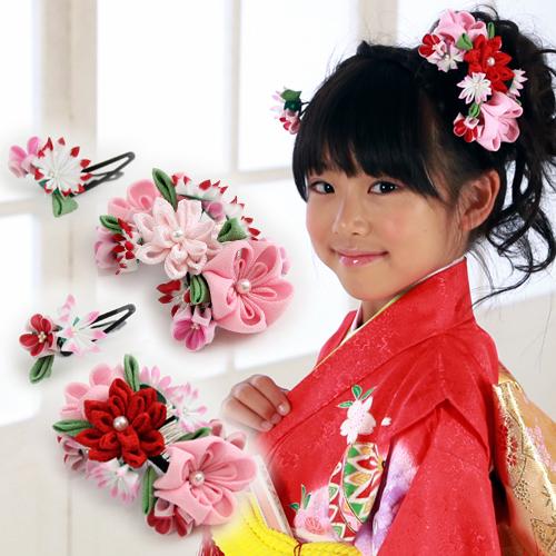 七五三 髪飾り 三歳 七歳 女の子用 花モチーフ 髪飾り 2点セットセット ちりめん 三歳 七歳