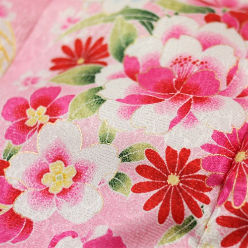 753 ringtone of 3-year-old kimono set 被布 'pink flowers, Mariya' 3-year-old for 3-year-old for 祝着 celebration ringtone [tax] 753 kimono 3 years for children
