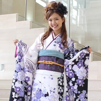 【レンタル】 振袖 レンタル セット 20点フルセット 「白 紺 青 紫 牡丹 蝶 モダン」 2月~12月上旬 成人式から結婚式やフォーマルまで。 着物 kimono フリソデ ふりそで rental れんたる