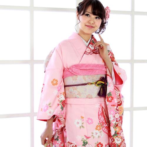 【レンタル】 振袖 レンタル セット 20点フルセット 「ピンク 赤 桜 菊 橘 鹿の子 レトロ」 2月~12月上旬 成人式から結婚式やフォーマルまで。