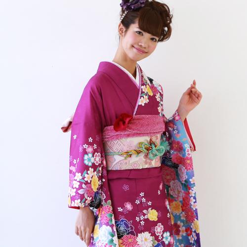 【レンタル】 振袖 レンタル セット 20点フルセット 「紫 黒 桜 バラ モダン」 2月~12月上旬 成人式から結婚式やフォーマルまで。