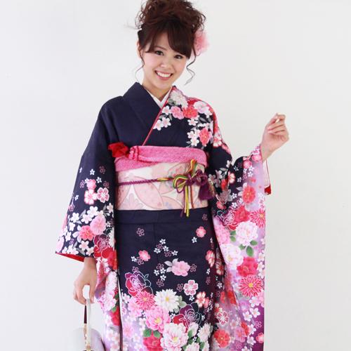 【レンタル】 振袖 レンタル セット 20点フルセット 「紫 桜 バラ モダン」 2月~12月上旬 成人式から結婚式やフォーマルまで 着物 kimono フリソデ ふりそで rental れんたる 着物レンタル 貸衣装