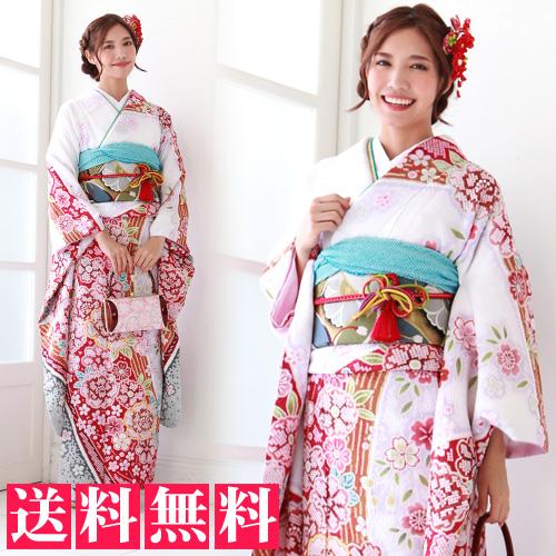 【レンタル】 振袖 レンタル セット 20点フルセット 「白紫地に赤ぼかし八重桜 疋田柄」2月~12月上旬 成人式から結婚式やフォーマルまで。 着物 kimono フリソデ ふりそで rental れんたる 着物レンタル 貸衣装