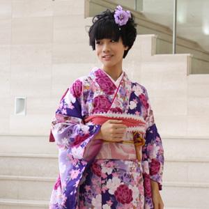 【レンタル】 振袖 レンタル セット20点フルセット「紫 パープル ピンク ローズ 白 ホワイト 薔薇 バラ 桜」2月~12月上旬 成人式から結婚式やフォーマルまで。 着物 kimono フリソデ ふりそで rental れんたる