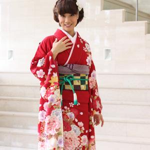 【レンタル】【最大20日間】 振袖 レンタル 成人式 セット正絹京友禅 20点フルセット「赤地に金彩ピンク赤牡丹と桜」成人式から結婚式やフォーマルまで。 着物 kimono フリソデ ふりそで rental れんたる せいじんしき セイジンシキ〔消費税込み〕
