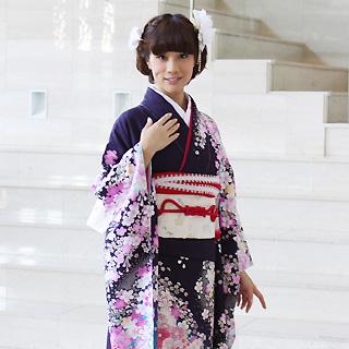 【レンタル】【最大20日間】 振袖 レンタル 成人式 セット正絹京友禅 20点フルセット「濃紺紫に青ぼかし紫ピンク桜吹雪」成人式から結婚式やフォーマルまで。 着物 kimono フリソデ ふりそで rental れんたる せいじんしき セイジンシキ