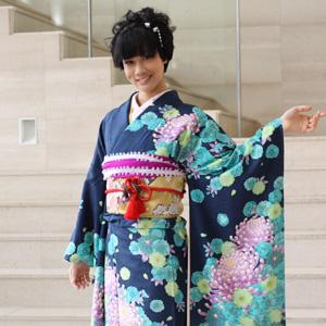 【レンタル】【最大20日間】 振袖 レンタル 成人式 セット正絹京友禅 20点フルセット 「青 ブルー 緑 グリーン 紫 パープル 乱菊 八重菊」成人式から結婚式やフォーマルまで。 着物 kimono フリソデ ふりそで rental れんたる せいじんしき セイジンシキ